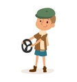 Driver boy with car rudder cute cartoon vector image