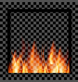empty photo frame with realistic fire template vector image