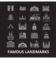 famous landmarks editable line icons set on vector image vector image