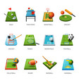fields and sport equipment isolated icons play vector image