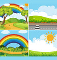 four scenes with rainbow and sun in sky vector image