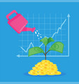 growing money with graph vector image vector image