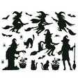 halloween witch silhouettes magic witch ladies vector image vector image