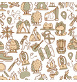 hiking and trekking travel seamless pattern vector image vector image