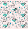 i love coffee typography with cute cat pattern vector image vector image