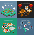 Japan Touristic Isometric 2x2 Icons Set vector image vector image