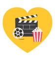movie reel open clapper board popcorn box cinema vector image vector image
