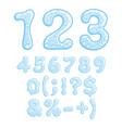 numbers and symbols of sparkling water vector image