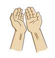 open hands praying vector image vector image