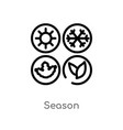 outline season icon isolated black simple line vector image vector image