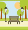 park bench lamp tree sun landscape scene vector image
