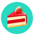 piece of birthday cheesecake with jelly decorated vector image vector image