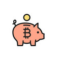 piggy bank with bitcoin cryptocurrency crypto vector image vector image