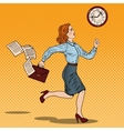 Pop Art Business Woman Running to Work vector image vector image