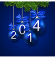 Realistic blue christmas balls with 2014 vector image vector image