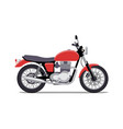 red classic motorcycle design flat style isolated vector image vector image