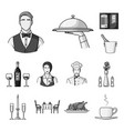 restaurant and bar monochrome icons in set vector image vector image