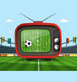 retro television with soccer match on footbal vector image vector image