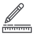 ruler and pencil line icon instrument and school vector image