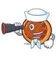 sailor with binocular baket pie mascot cartoon vector image vector image