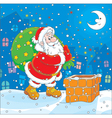 Santa with his bag of gifts vector image vector image