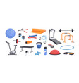 set colored various gym equipment vector image