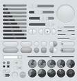 set of interface buttons grey collection slider vector image