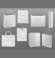 shopping bag mockups empty handbag white paper vector image vector image