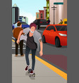 stylish old man skateboarding on the road vector image vector image