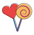 two round lollipop and heart shape candy vector image vector image