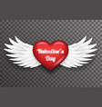 valentine day heart white bird angel fly wings 3d vector image