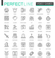 video games thin line web icons set mobile game vector image