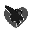 woman in hat silhouette against grey heart on vector image