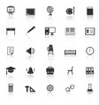 classroom icons with reflect on white background vector image