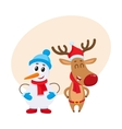 Dnowman in hat and mittens with Christmas reindeer vector image