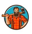 woodcutter logo lumberjack or carpenter vector image