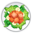 a salmon salad on white background vector image