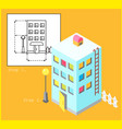 apartment building in linear and isometric style vector image vector image