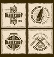 barbershop four colored vintage grunge emblems vector image vector image