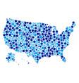 blue circles usa with alaska map mosaic vector image
