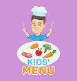 boy with a plate full of food from kids menu vector image