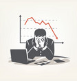 businessman sitting in big depression financial vector image