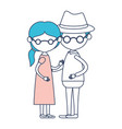 caricature faceless full body elderly couple vector image