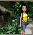 cartoon female hiker with backpack in the tropics vector image vector image