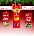 Christmas sale background with labels vector image vector image