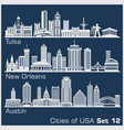 cities usa - tulsa new orleans austin vector image vector image