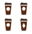 coffee paper glass brown set with icon on it vector image vector image