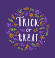 cute halloween lettering and doodle art vector image
