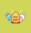 cute rabbits with egg happy easter bunnies sticker vector image vector image