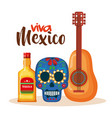 day of the dead mask with guitar vector image vector image